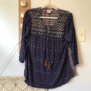 Anthropologie Majorelle Embroidered Tassel Top